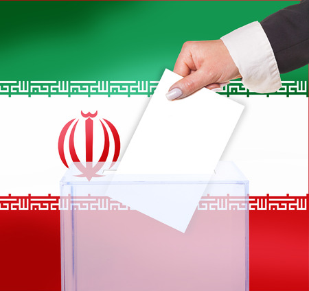 electoral vote by ballot, under the Iran flag photo