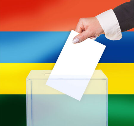 electoral vote by ballot, under the Mauritius flag photo