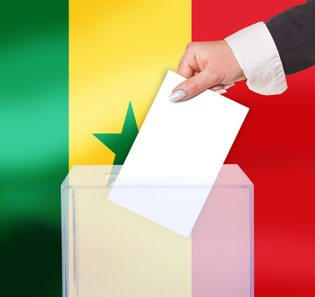 electoral: electoral vote by ballot, under the Senegal flag Stock Photo