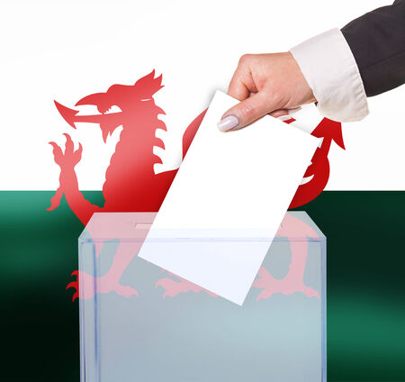 electoral: electoral vote by ballot, under the Wales  flag Stock Photo
