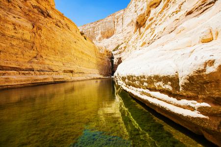 negev: natural source of water flowing between rocks Stock Photo