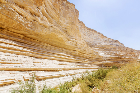 landscape of the gorge in the Negev desert summer day photo