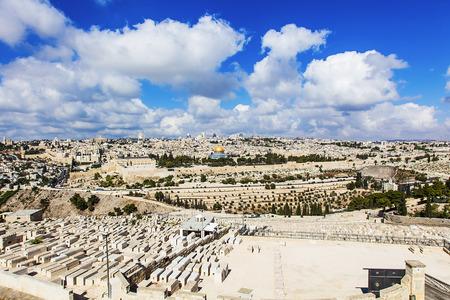 JERUSALEMISRAEL - 20 SEPTEMBER 2014: panorama city of Jerusalem view of the cemetery. 20 september 2014 Jerusalem.