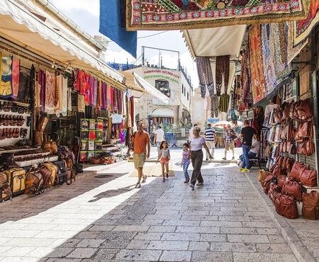 JERUSALEMISRAEL - 20 SEPTEMBER 2014: market the streets of Jerusalem old city. 20 september 2014 Jerusalem.