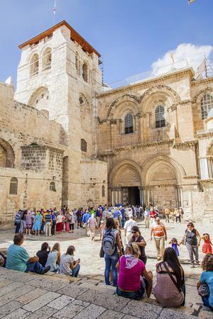 JERUSALEMISRAEL - 20 SEPTEMBER 2014: area in front of the temple of the Holy Sepulchre. 20 september 2014 Jerusalem.
