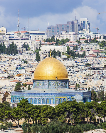 JERUSALEMISRAEL - 20 SEPTEMBER 2014: Al-Aqsa panorama city of Jerusalem. 20 september 2014 Jerusalem.