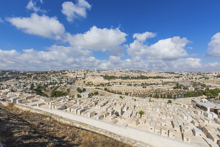 JERUSALEMISRAEL - 20 SEPTEMBER 2014: panorama of the old city of Jerusalem from the heights. 20 september 2014 Jerusalem.