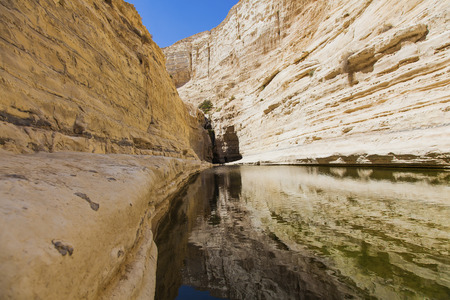 negev: a deep gorge in the Negev desert with a natural water Stock Photo