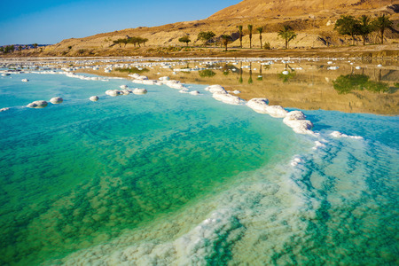 landscape with dead sea coastline sunny day