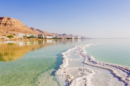 Landscape Dead Sea coastline in summer day Фото со стока