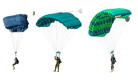 man athlete the parachutist flies with parachute open