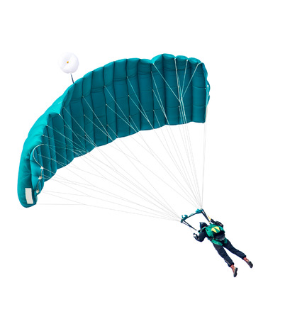 man the parachutist flies with parachute open