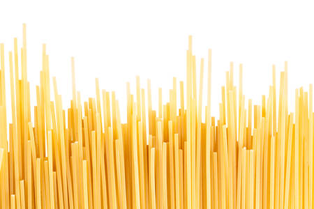pasta: background inaccuratly wet spaghetti lined with vertically Stock Photo