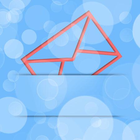 red envelope: illustration of a red envelope on a blue background