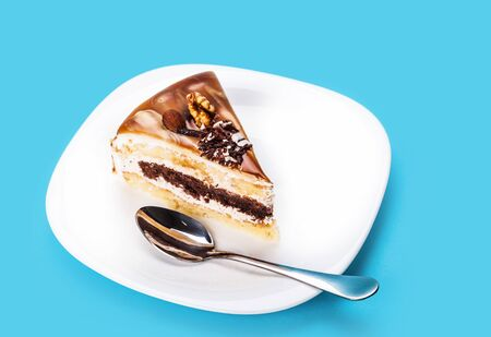 nutty: nutty piece of cake on a blue background