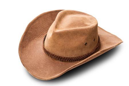 Leder Cowboy-Hut Nahaufnahme auf einem weißen Hintergrund