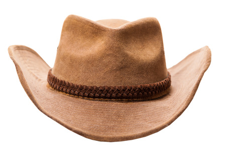 brown leather hat: leather cowboy hat isolated on a white background Stock Photo