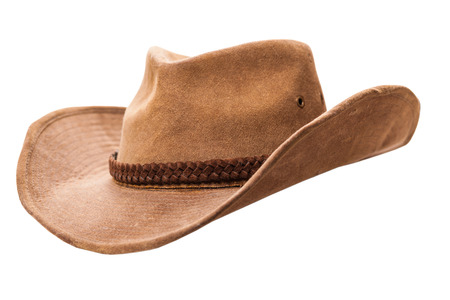 brown leather hat: cowboy hat closeup isolated on a white background