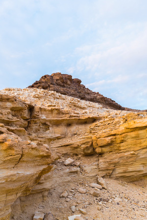 canyon negev: landscape in the desert mountains and blue sky