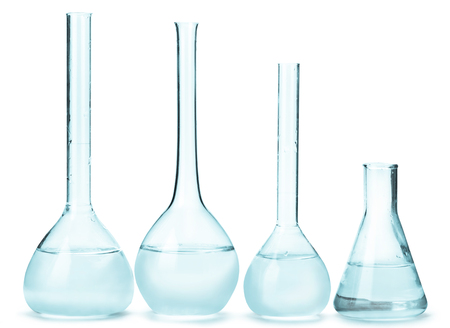 reagents: variety of glass bulbs with reagents on a light background