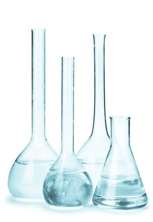 reagents: set of flasks with reagents isolated on white background