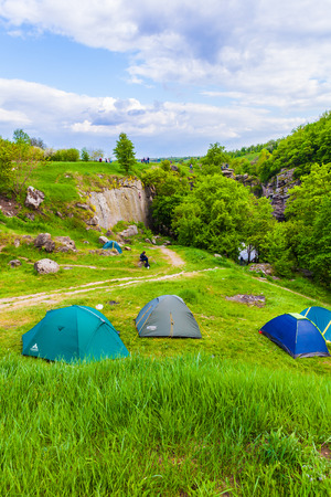 camping tent: camp at the top of the canyon