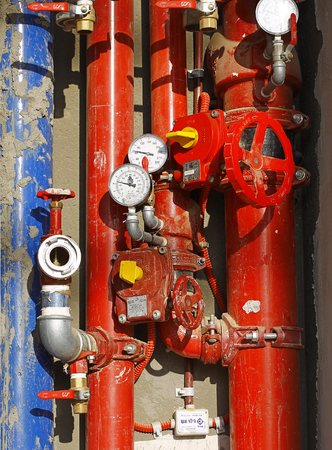red metallic: red metallic pipes with valves and sensors