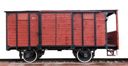 carreta madera: carro de madera sobre un fondo blanco, vista lateral