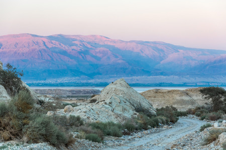 negev: landscape of the Negev desert, mountains and sky Stock Photo