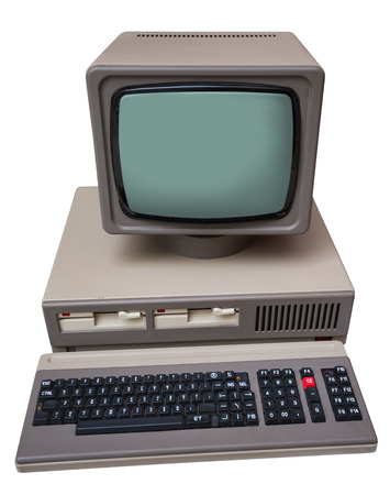 computer isolated: Old gray computer isolated on a white