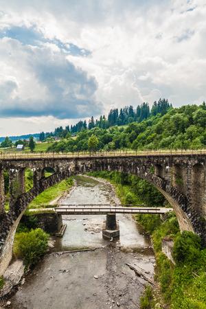 vorohta: landscape mountain river Prut in the Carpathians