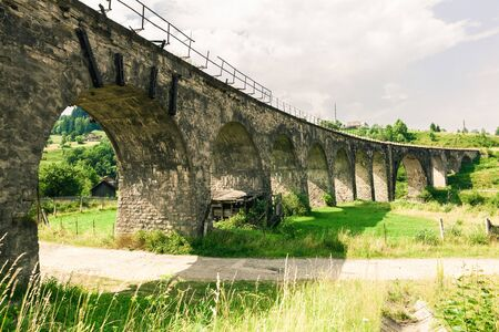 Old railway bridge viaduct in the Carpathians