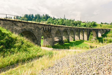 vorohta: Old railway bridge viaduct in the Carpathians