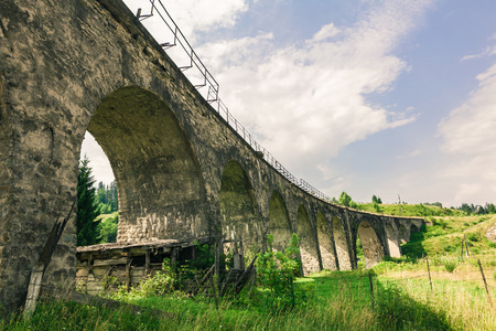 vorohta: Old Austrian bridge viaduct in the Carpathians