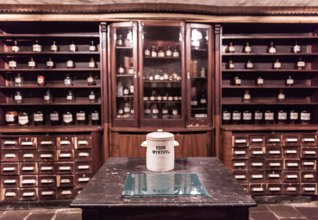 Interior the ancient pharmacy, furniture with drugs