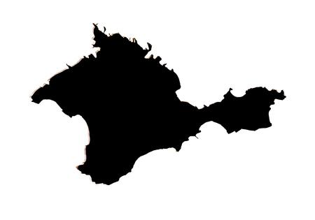 annexation: Black Crimean peninsula on a white background isolated Stock Photo