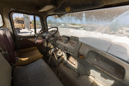 4wd: the old military vehicle, inside the cabin