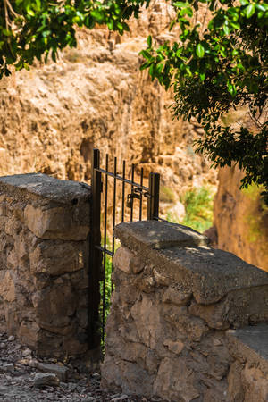 metal gate: metal gate in the old stone wall