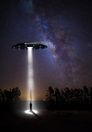 ufos: night landscape, the starry sky and UFOs
