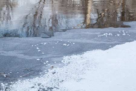 frozen river: Winter rural landscape Frozen River in the forest Stock Photo
