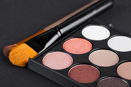 eyemakeup: set of decorative cosmetics, Eyeshadow Palette and brushes