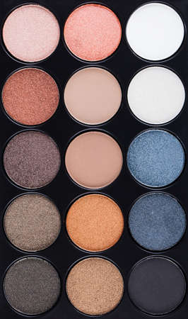 eyemakeup: set of decorative cosmetics, Eyeshadow Palette closeup Stock Photo