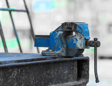 grip: old rusty iron grip of industrial equipment