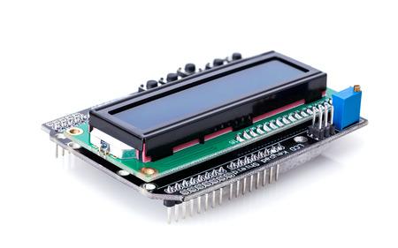 electronic background: electronic parts closeup isolated on white background Stock Photo