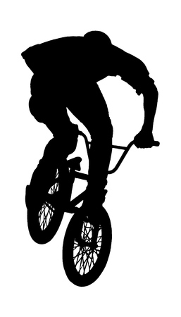 Teenager riding a BMX bicycle isolated white background Çizim