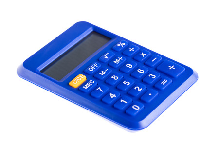 Blue the calculator isolated on white background Stock Photo