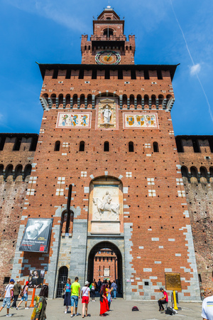 sforzesco: MILAN, ITALY - AUGUST 03, 2016: Sforzas Castle in Milan, Italy.