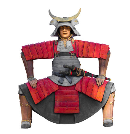 imperialism: the samurai statue isolated on white background