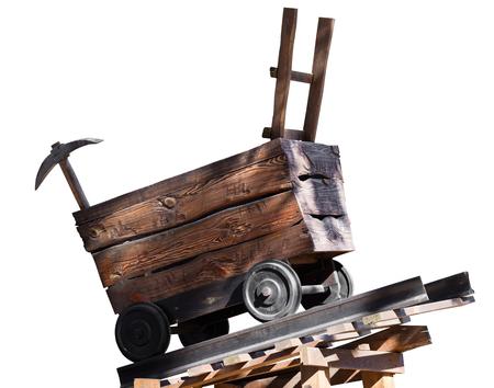 houten karretje met een oogst op witte achtergrond wordt geïsoleerd die