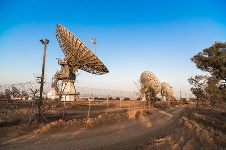 image of large parabolic satellite dish space technology receivers